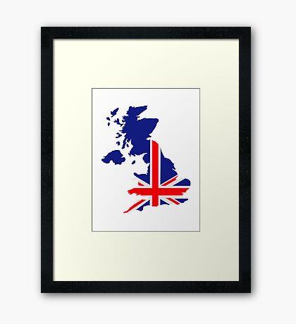 Great Britain UK map flag Framed Print