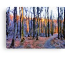 Winter Sunset In The Beech Wood Canvas Print