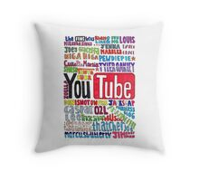 Youtube Colored Collage Throw Pillow