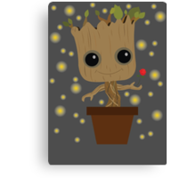 Groot with Rose/Fireflies Canvas Print