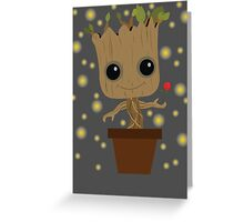 Groot with Rose/Fireflies Greeting Card