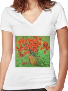 Jug with red poppies in green grass Women's Fitted V-Neck T-Shirt