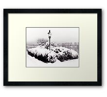 Snowy Lamp Post By The River Danube Framed Print