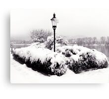 Snowy Lamp Post By The River Danube Canvas Print