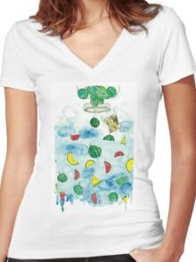 Why Watermelon Drop from Bottle? Women's Fitted V-Neck T-Shirt