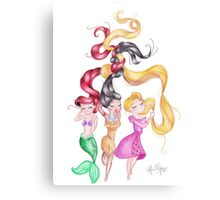 3 Princesses Drawings Canvas Print