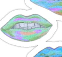 Neon Blue Lip Art Sticker