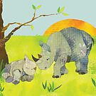 Rhinos by Ujean1974