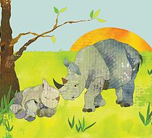Rhinos by Ujean1974
