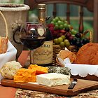 Wine Cheese and Bread by Robin Webster