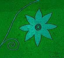 Turquoise Flower on green by Donna Grayson