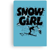 Snowgirl Ski Retro Canvas Print