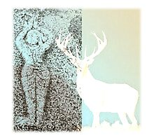 Gaia and the Stag - Blue Photographic Print
