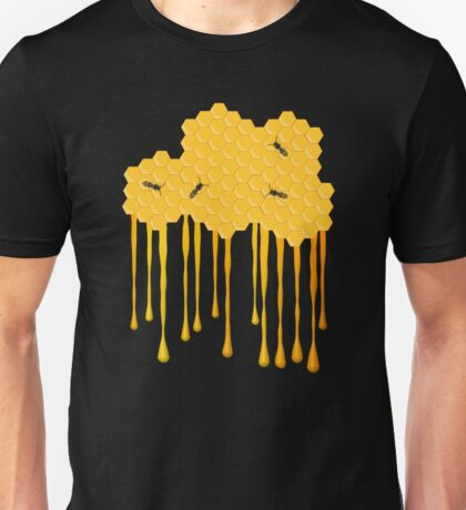 Honey bee hive with honey drip Unisex T-Shirt