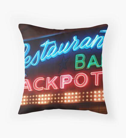 restaurant bar jackpots Throw Pillow