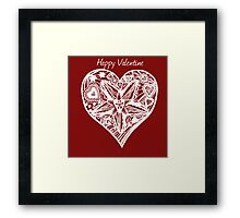 Valentine Heart 4 -  Happy Valentine in White Framed Print