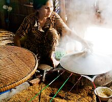 Making rice paper by strangers