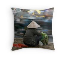 Roadside selling in Vietnam Throw Pillow