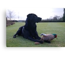 Dog with Toy Pheasant Canvas Print