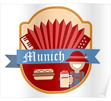 Munich Germany Retro Badge Poster