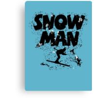 Snowman Ski Retro Canvas Print