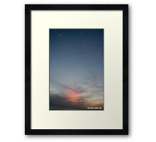 Sunset at sea with moon Framed Print