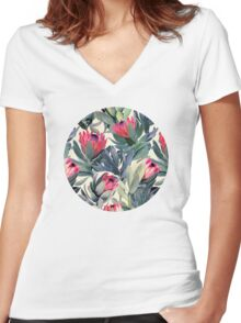 Painted Protea Pattern Women's Fitted V-Neck T-Shirt