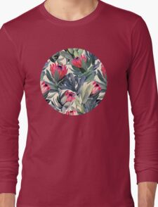 Painted Protea Pattern Long Sleeve T-Shirt