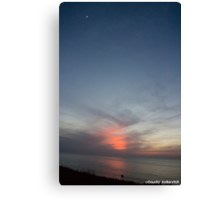 Sunset at sea with moon Canvas Print