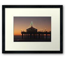 Southern California Pier Dressed Up For Christmas Framed Print