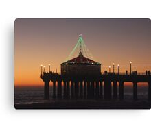 Southern California Pier Dressed Up For Christmas Canvas Print