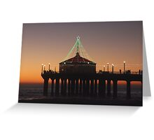 Southern California Pier Dressed Up For Christmas Greeting Card