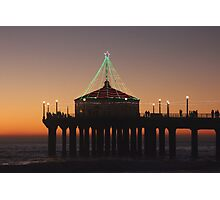 Southern California Pier Dressed Up For Christmas Photographic Print