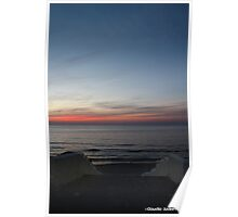 Sunset at sea with stairs Poster
