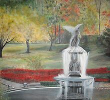 Central Park in  Fall  at the Bethesda  Fountain      ( My Paintings ) by John Todaro