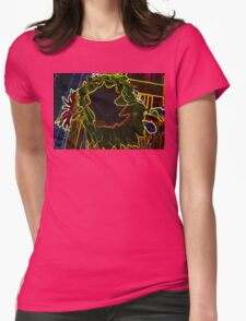Glowing Sun Flower Neon Abstract Design Womens Fitted T-Shirt