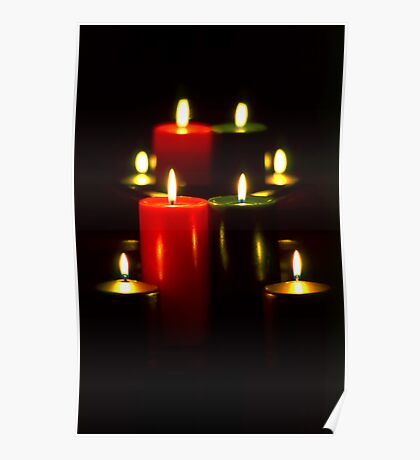 Lighted Christmas Candles (5)  Poster