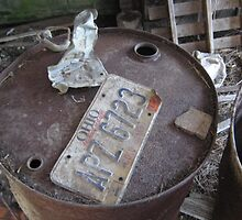 old license plate in Ohio countryside barn by Laurkat