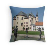 Castle garden Throw Pillow