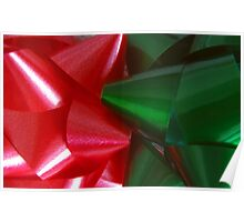 Red and Green Christmas Bows Poster