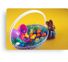 Chocolate Bunny & Easter Basket Canvas Print