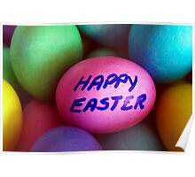 Dyed Easter Egg Background w/ Happy Easter Message Poster