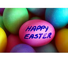 Dyed Easter Egg Background w/ Happy Easter Message Photographic Print