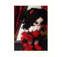 Kitty Serendipity - knitted burlesque doll series Art Print