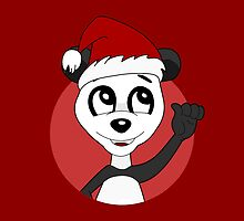Cute Christmas panda bear cartoon by Radka Kavalcova
