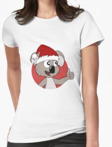 Cute Christmas koala cartoon Womens Fitted T-Shirt