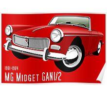 MG Midget Mark I red Poster