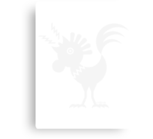 Cock Silhouette / Rooster Design (White) Canvas Print