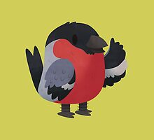 Fluffy Waving Bullfinch Character by Claire Stamper