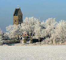 CHURCH IN WINTER LANDSCAPE by Johan  Nijenhuis
